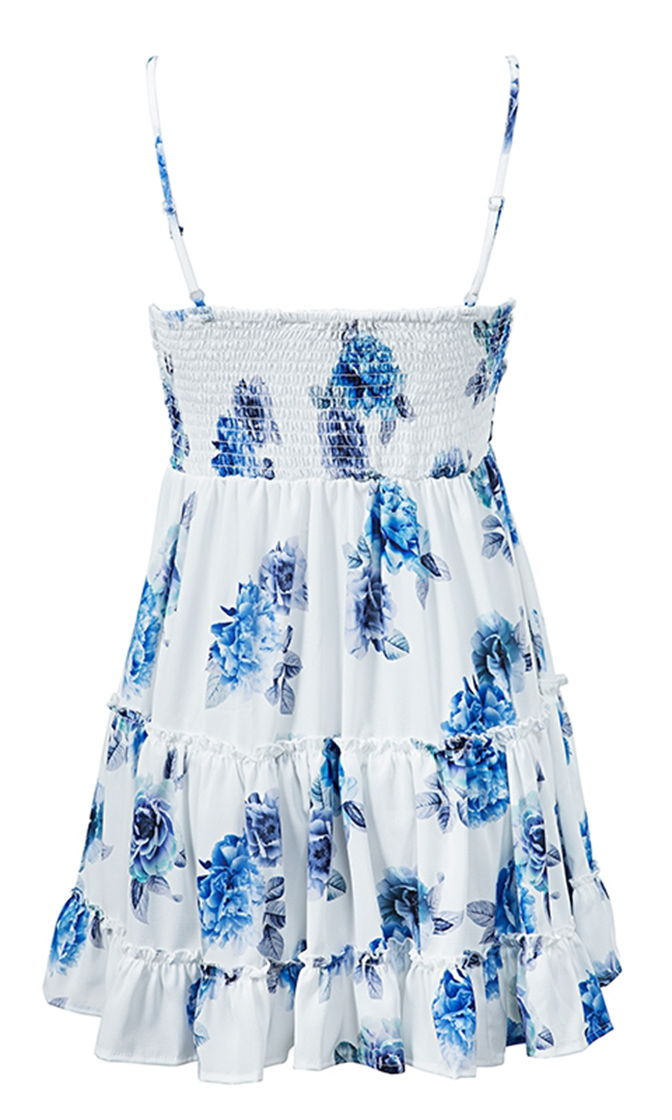 Don't Stop Moving Bow Front Floral Spaghetti Strap A Line Sleeveless Mini Dress - 2 Colors Available