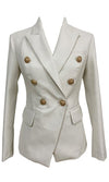 Riding My Coat Tails White Long Sleeve Plunge V Neck Hook And Eye Corset Crop Blazer Jacket Outerwear