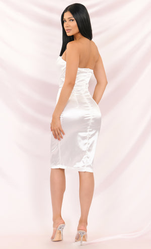 One More Night White Satin Strapless Draped Sweetheart Neck Bodycon Midi Dress - 3 Colors Available
