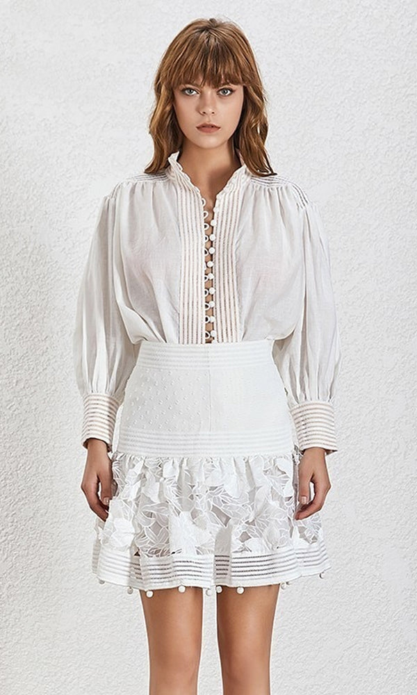 0481f308086 My Inspiration Lace Long Lantern Sleeve Button Front Tunic Blouse Top Wide  Waist Flare A Line