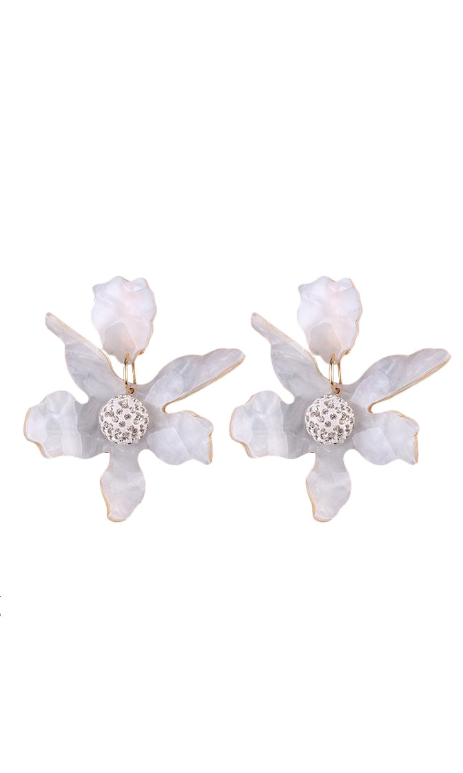 Take Me Higher Flower Resin Crystal Rhinestone Earrings - 3 Colors Available