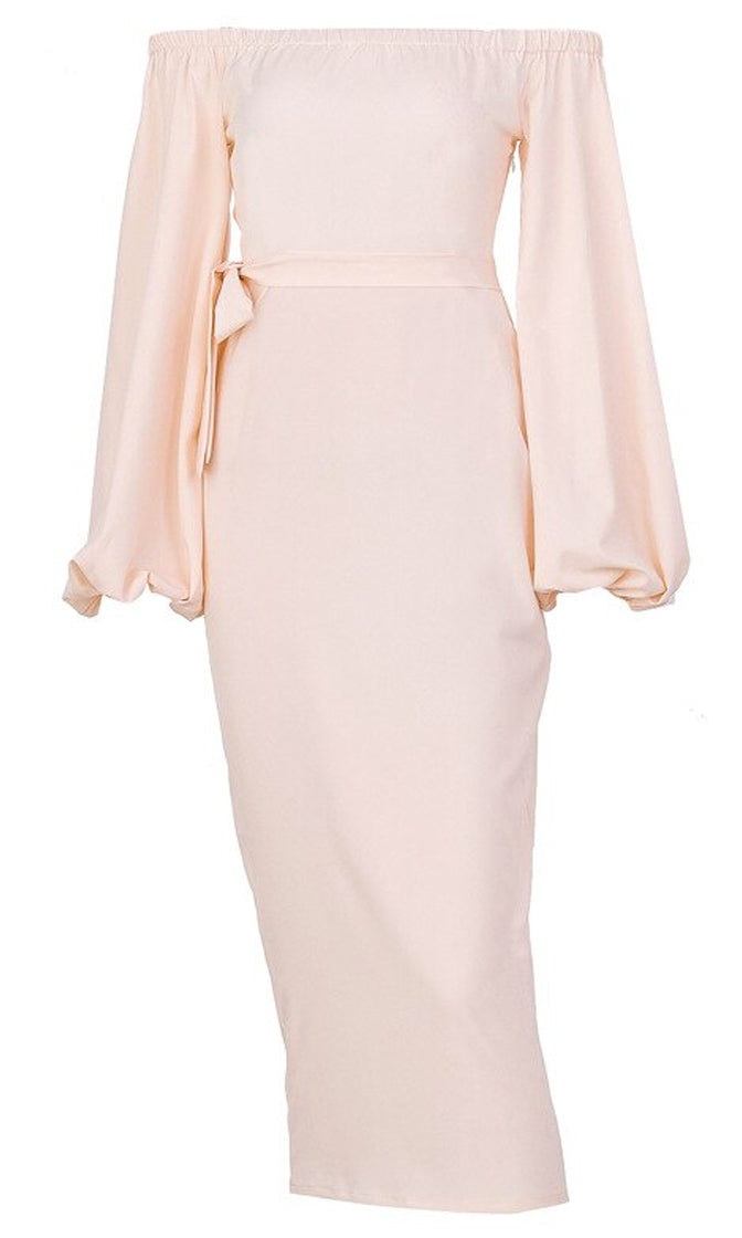 True Style Long Puff Sleeve Off The Shoulder Tie Belt Bodycon Midi Dress - 2 Colors Available