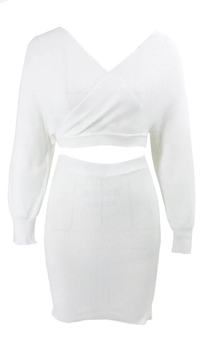 So Lavish Ribbed Knit Sweater V Neck  Long Sleeve Cross Wrap Crop Pullover Two PieceC Cut Out Back Bodycon Mini Dress