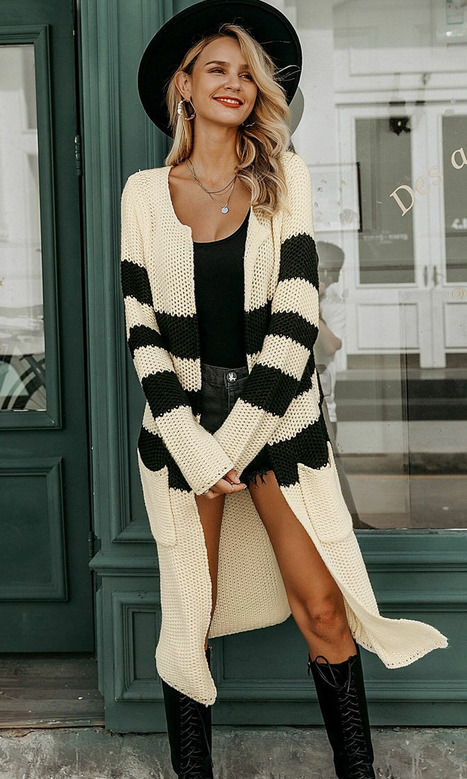 Won't Let Go Contrast Black Ivory Striped Pattern Long Sleeve Open Lapel Pocket Duster Cardigan Knit Sweater