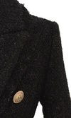 Buckled Up Black Woolen Lurex Long Sleeve V Neck Lapel Gold Button Coat Outerwear