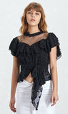 Beautiful Dreamer Black Sheer Mesh Polka Dot Short Sleeve Ruffle Mock Neck Tie Waist Blouse Top - 3 Colors Available