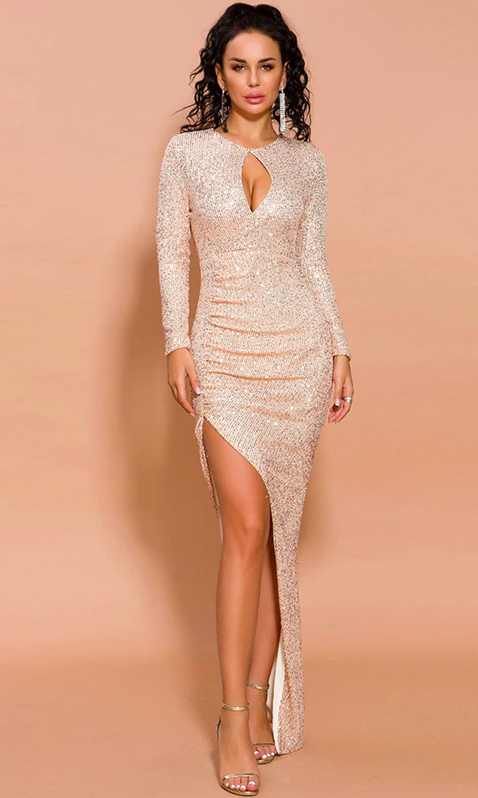 Star Seeker Rose Gold Sequin Long Sleeve Crew Neck Keyhole Cut Out Plunge Ruched Side Slit Maxi Dress