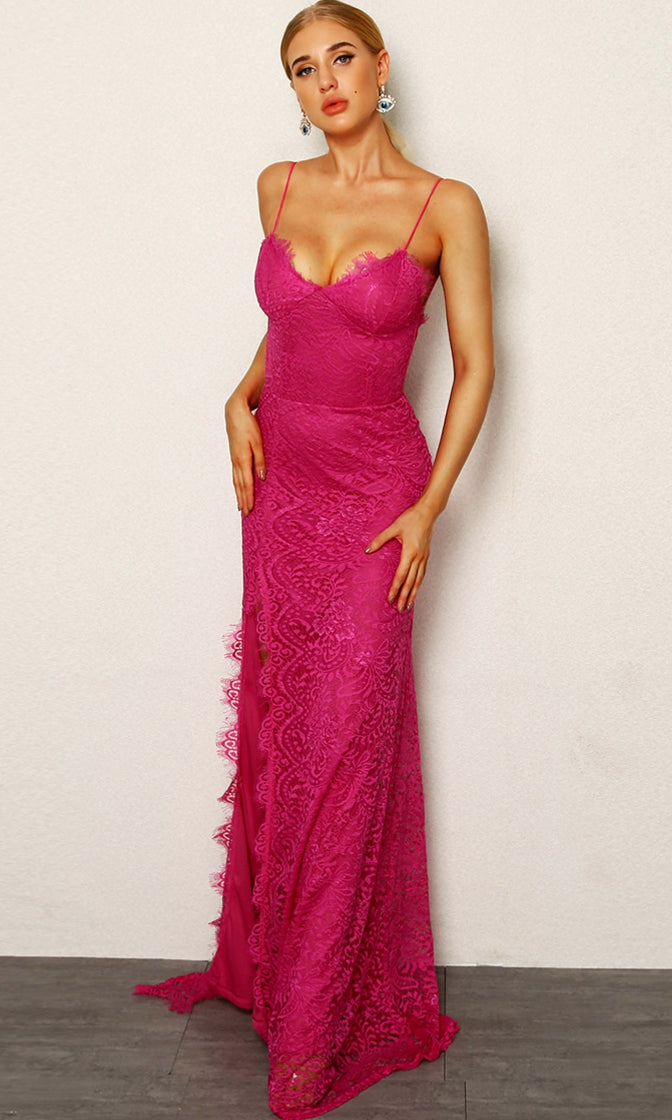 Fancy Pants Pink Lace Sleeveless Spaghetti Strap V Neck High Slit Bodycon Maxi Dress - 4 Colors Available