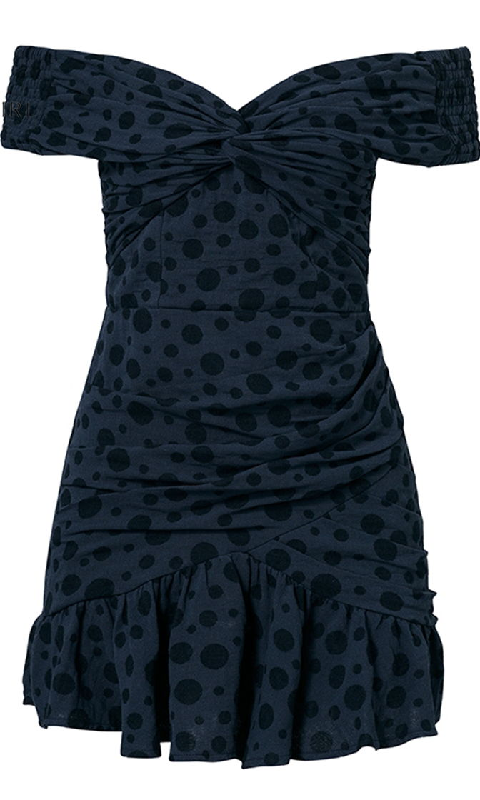 Unlock Her Heart Dot Pattern Wrapped Twist Front Off The Shoulder Short Sleeve Mini Dress - 3 Colors Available