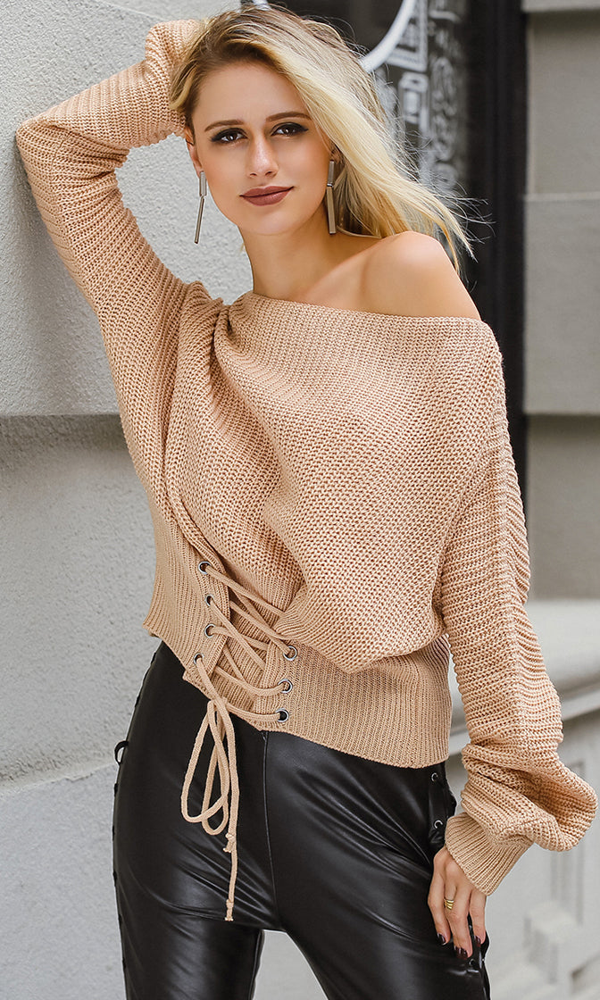 Young And Careless Long Sleeve Boat Neck Pattern Lace Up Waist Pullover Sweater - 5 Colors Available