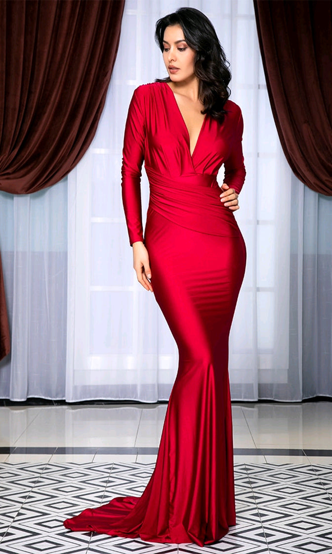Ruby Rendezvous Red Long Sleeve Deep V Neck Ruched Mermaid Maxi Dress Gown