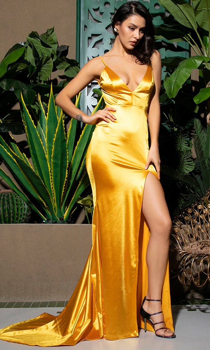 Hollywood Fantasy Yellow Satin Sleeveless Spaghetti Strap V Neck Backless Ruched High Slit Mermaid Maxi Dress