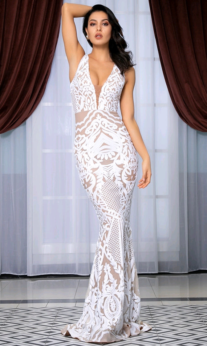 Ice Princess Sleeveless White Nude Beige Sequin Geometric Pattern Deep V Neck Mermaid Maxi Dress