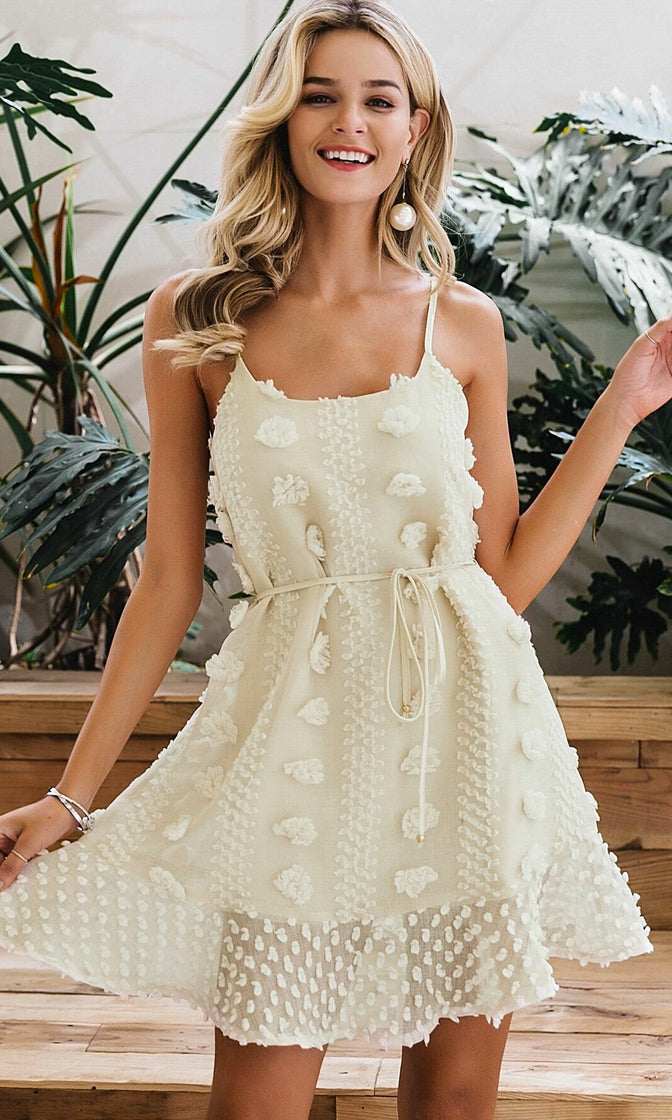 Make Me Smile Sheer Chiffon Dot Floral Pattern Embroidery Sleeveless Spaghetti Strap A Line Casual Mini Dress - 2 Colors Available