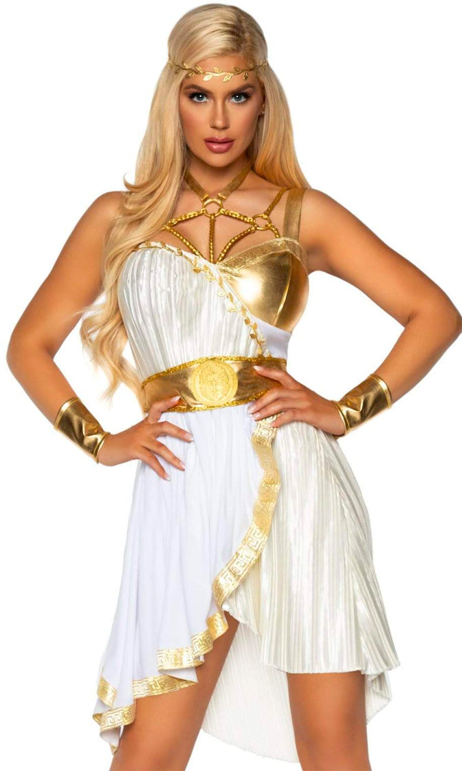 Alpha Power White Gold Sleeveless Cut Out Pleat Flare Mini Dress 4 Piece Halloween Costume