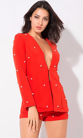 Point Of View Red Long Crochet Sleeve Plunge V Neck Tie Front Cut Out Waist Romper Playsuit