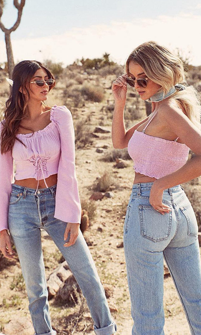 363f790f5f Morning Rush Lavender Sleeveless Spaghetti Strap Smocked Crop Tube Top -  Sold Out