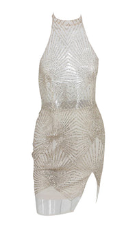 Rocking Around Sheer Mesh Sequin Geometric Pattern Sleeveless Mock Neck Halter Bodycon Mini Dress - Sold Out