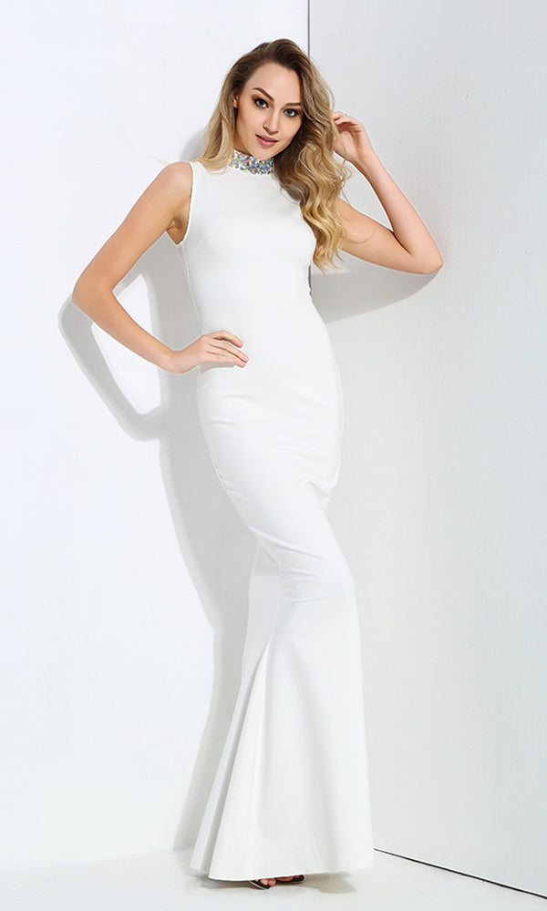 Promises Promises White Sleeveless Beaded Mock Neck Fishtail Mermaid Maxi Dress