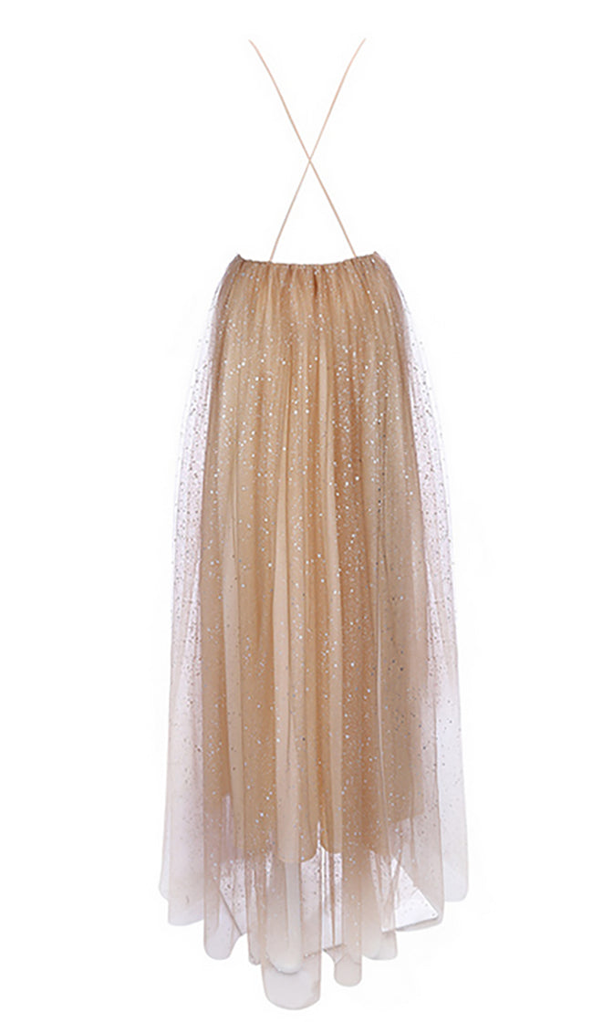 Expect The Unexpected Gold Silver Glitter Dot Pattern Sleeveless Spaghetti Strap V Neck Maxi Dress - Sold Out