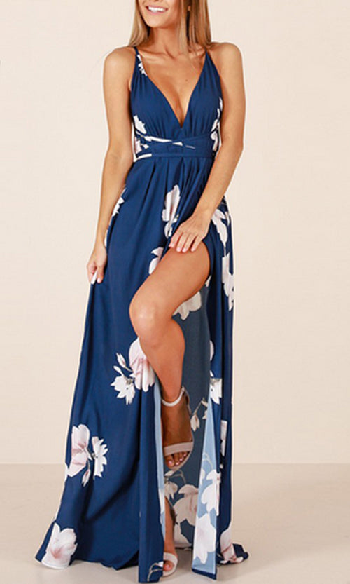 You'll Never Know Blue Floral Sleeveless Spaghetti Strap V Neck X Back Side Slit Casual Maxi Dress