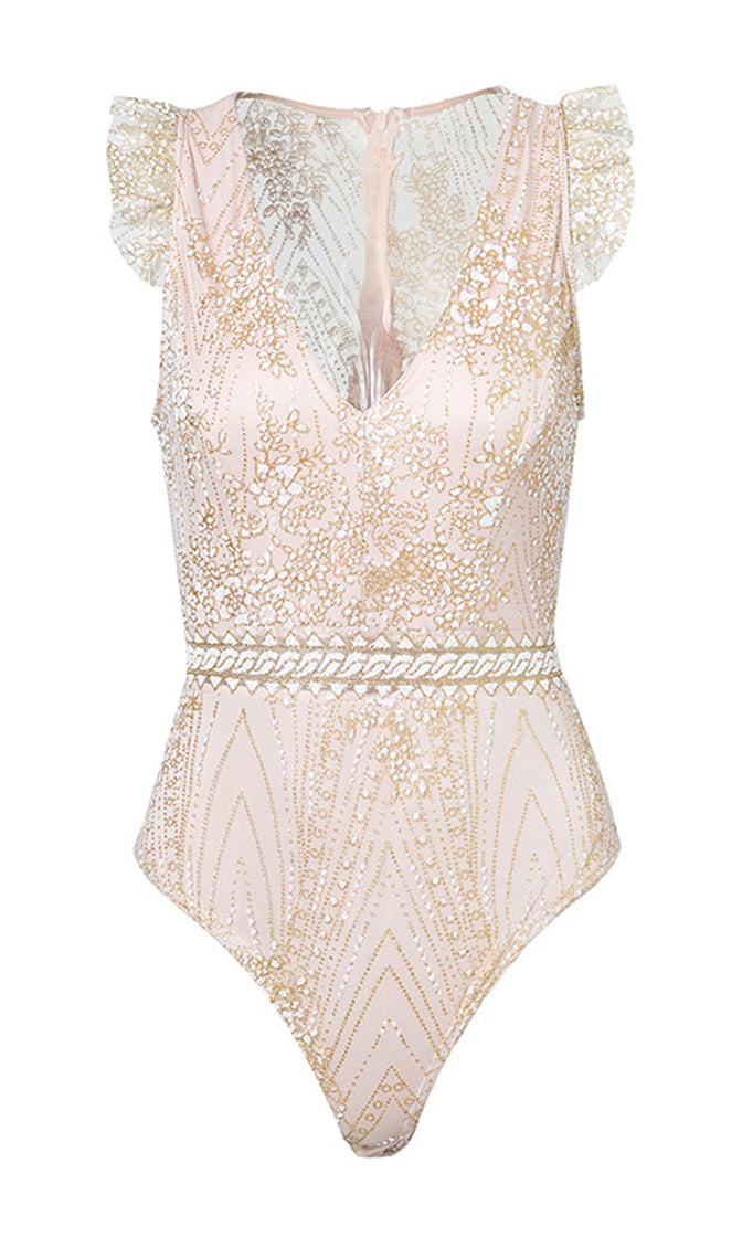 Ready To Delight Blush Pink Sheer Mesh Sequin Sleeveless Ruffle V Neck Bodysuit Top - Sold Out