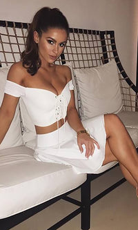 Ocean Bound White Cap Sleeve Off The Shoulder V Neck Lace Up Crop Top - Sold Out