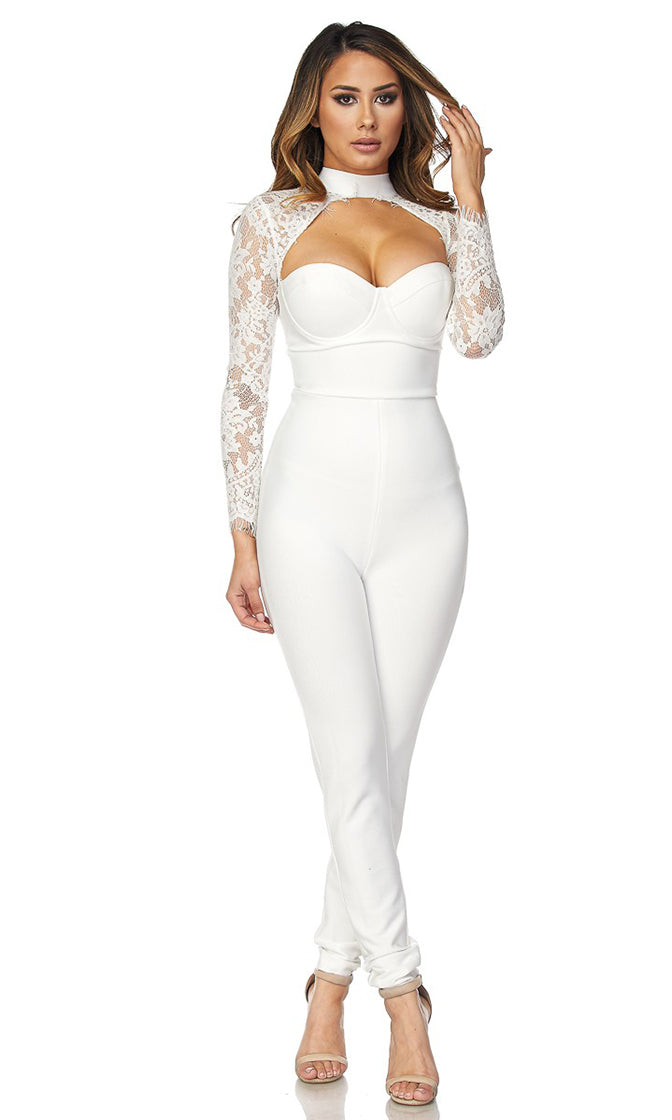 Together As One White Sheer Lace Long Sleeve Cut Out Sweetheart Neckline Bandage Jumpsuit  - Sold Out