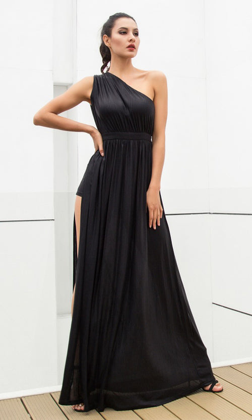 Star Of The Show Black Sleeveless One Shoulder Side Slit Maxi Dress