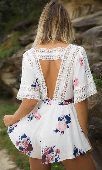 Field Of Dreams Floral Elbow Sleeve Crochet Trim Cross Wrap V Neck Cut Out Back Romper Playsuit - 3 Colors Available