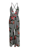 Jumping Through Hoops Black Floral Pattern Sleeveless Spaghetti Strap V Neck Split Jumpsuit - Sold Out