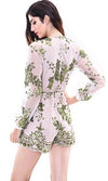 Just Dance White Green Sequin Lace Long Sleeve V Neck Tassel Tie Belt Romper Playsuit
