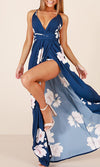 You'll Never Know Blue Floral Sleeveless Spaghetti Strap V Neck X Back Side Slit Casual Maxi Dress - Sold Out