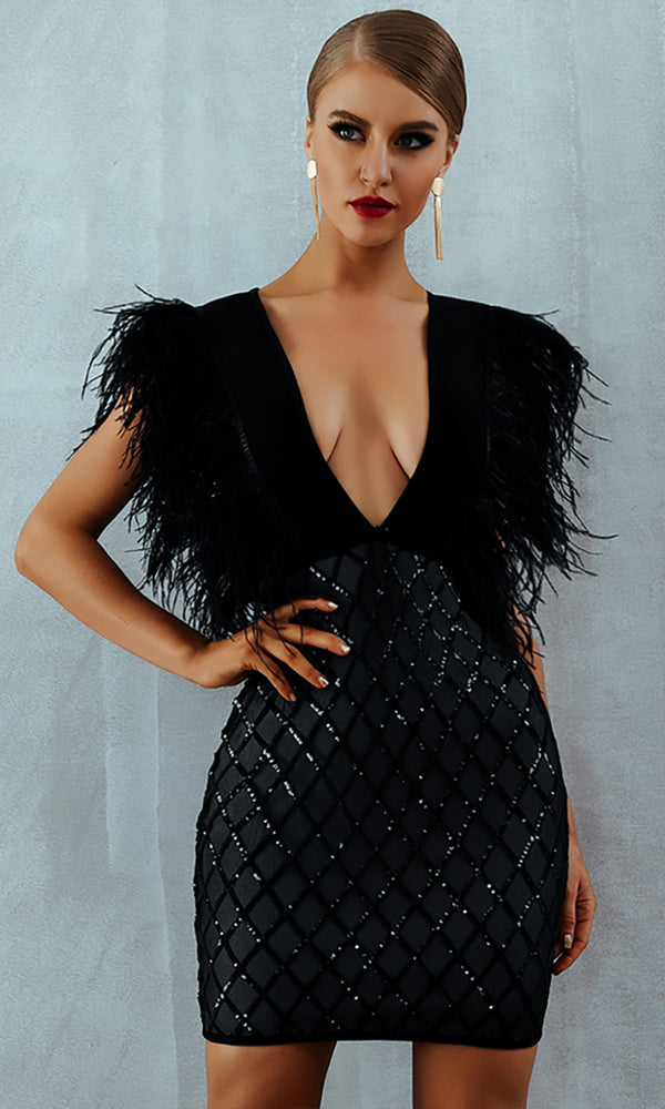 Don't Want You Black Feathers Sequin Geometric Pattern Sleeveless Plunge V Neck Bodycon Bandage Mini Dress