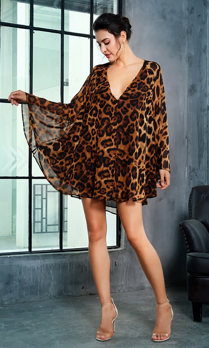 Naughty Nights Leopard Pattern Long Flare Sleeve Plunge V Neck Cut Out Back Swing Chiffon Casual Shift Mini Dress