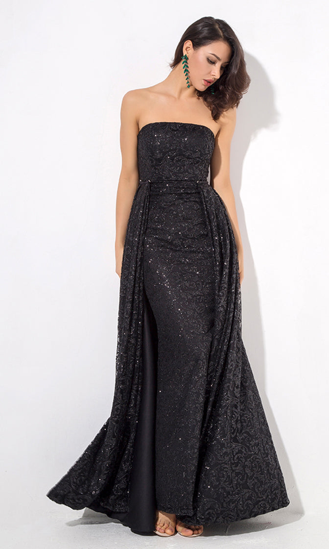 All This Time Black Glitter Swirl Pattern Strapless A Line Maxi Dress