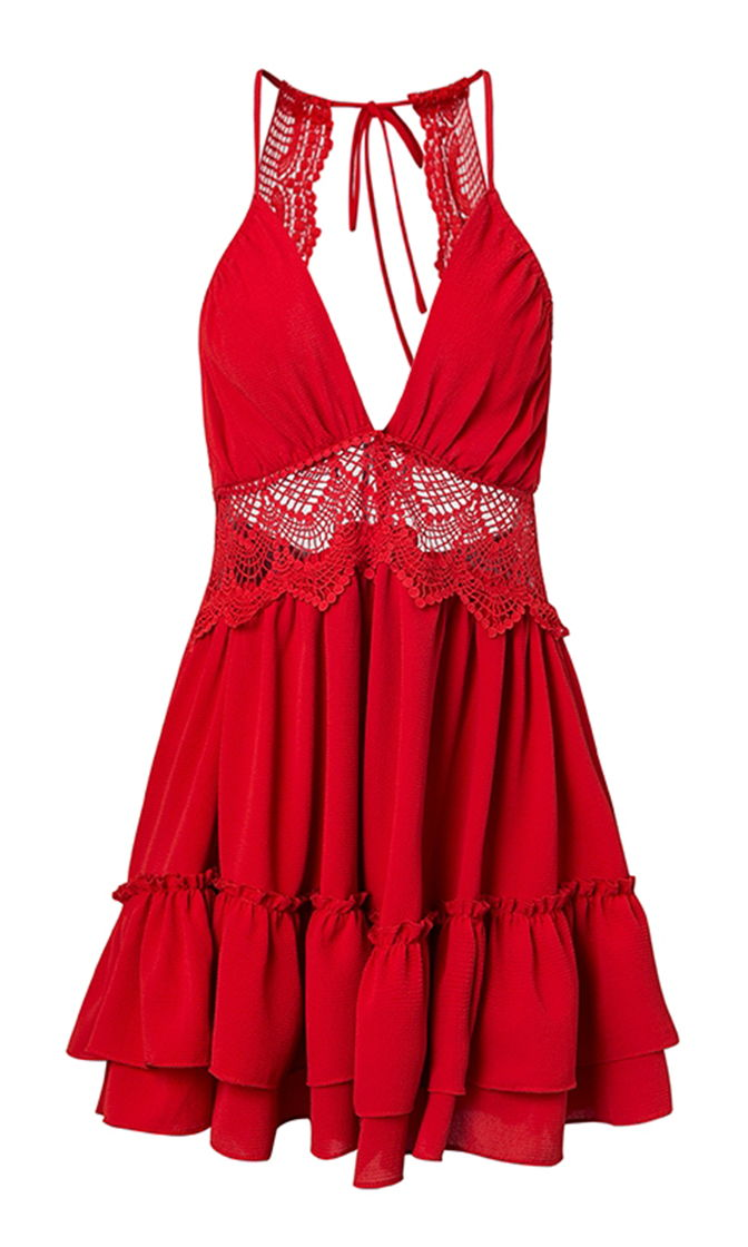 All I Need Red Sleeveless Spaghetti Strap Lace Trim V Neck Cut Out Back Tiered Ruffle Flare Casual Mini Dress - 2 Colors Available - Sold Out