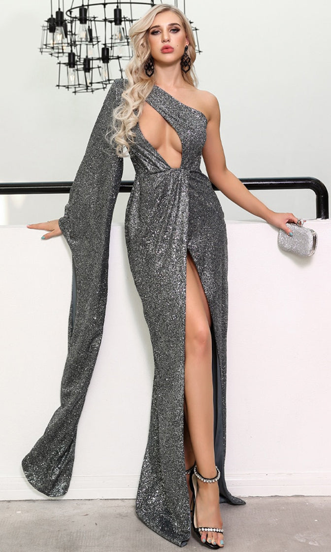 Movie Magic Grey Glitter Asymmetric One Long Sleeve Cut Out Plunge Split Front Maxi Dress
