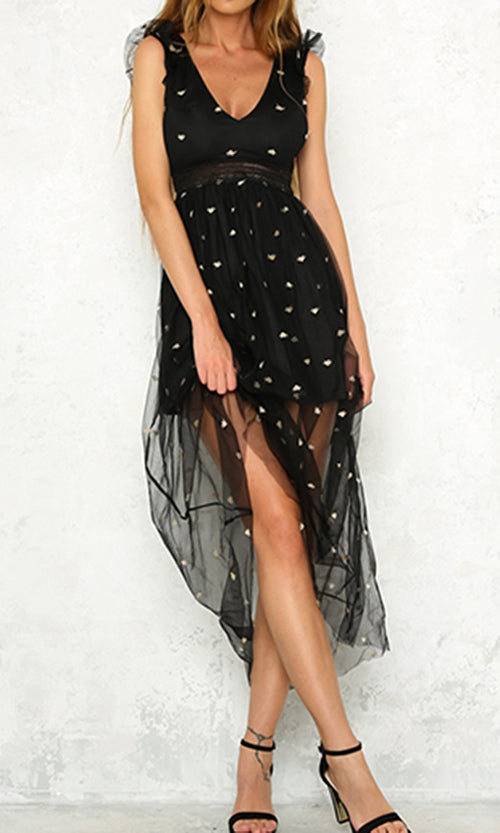 Oh My Stars Casual Sleeveless Ruffle Sheet Mesh Embroidery V Neck Cut Out Back Maxi Dress - 2 Colors Available