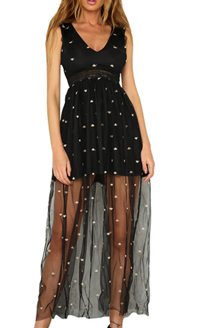 Oh My Stars Casual Sleeveless Ruffle Sheet Mesh Embroidery V Neck Cut Out Back Maxi Dress