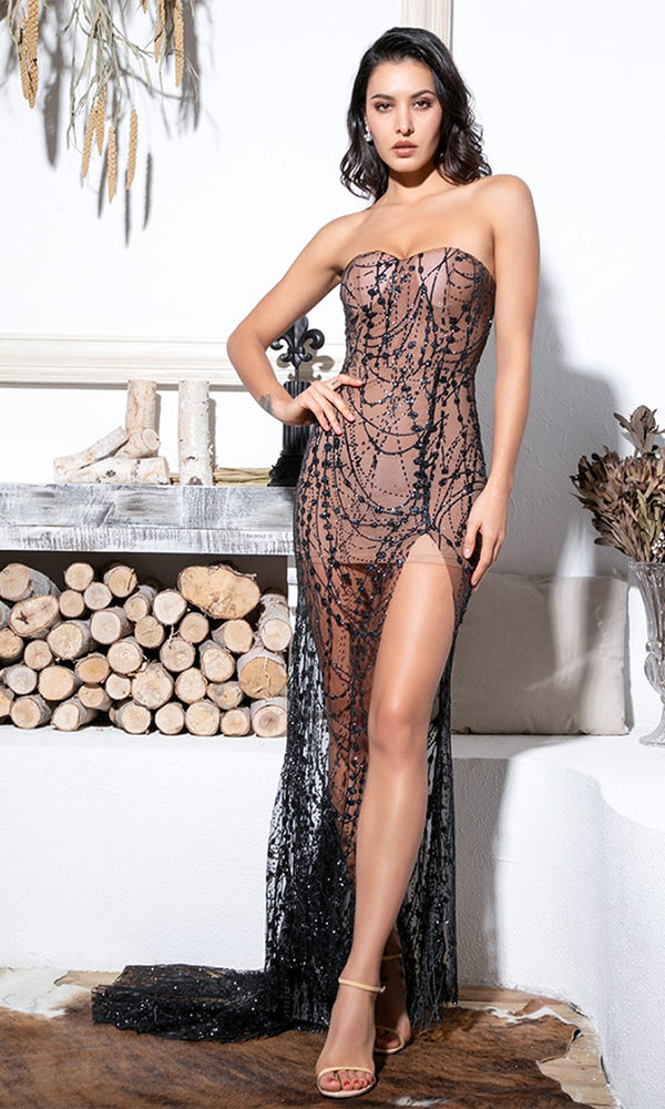34e323ac3ad Gazing At The Moon Nude Black Glitter Geometric Pattern Strapless  Sweetheart Neck Sheer Mesh High Slit