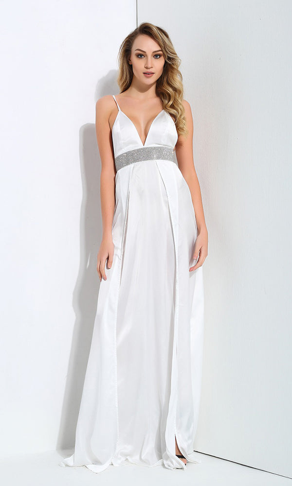 Working My Magic White Rhinestone Sleeveless Spaghetti Strap V Neck Double Split Maxi Dress