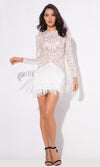 Angel On Earth White Nude Lace Embroidery Fringe Long Sleeve Round Neck Mini Dress - Sold Out
