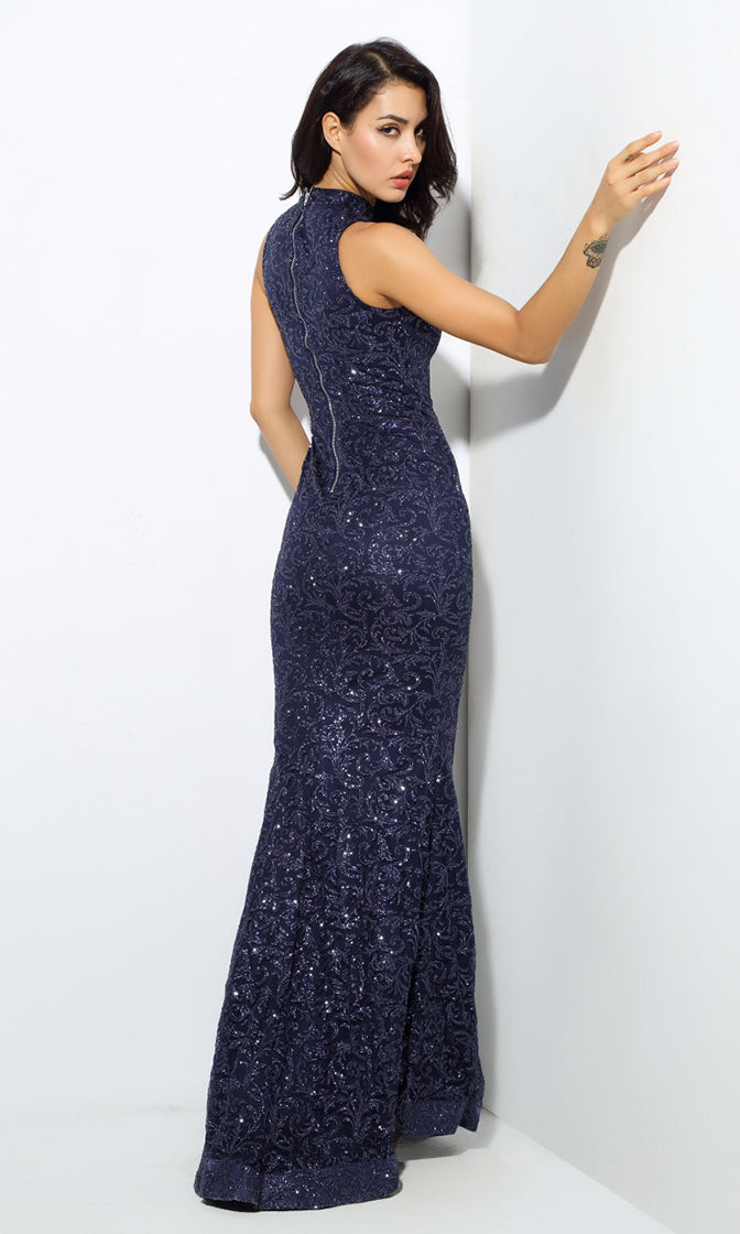 Make An Entrance Navy Blue Glitter Floral Pattern Sleeveless Mock Neck Maxi Dress