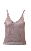 Shut It Down Sleeveless V Neck Sheer Metallic Mesh Knit Sweater Tank Top - 3 Colors Available