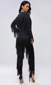 Best Of Times Black Fringe Tassel Long Sleeve Plunge V Neck Skinny Bodycon Jumpsuit