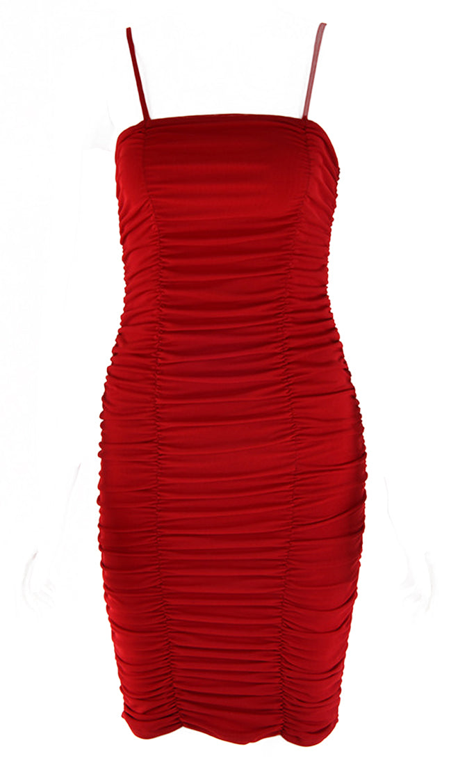 Hard To Miss Sheer Mesh Sleeveless Spaghetti Strap Square Neckline Ruched Bodycon Mini Dress - 3 Colors Available