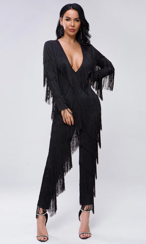 Stealing The Night Black Sheer Mesh Sequin One Shoulder Long Sleeve Tiered Mermaid Maxi Dress
