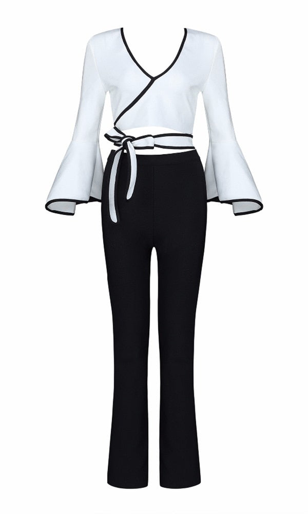 b03e6873b62 Touch Of Class Black White Long Flare Sleeve Cross Wrap V Neck Cut Out Tie  Waist