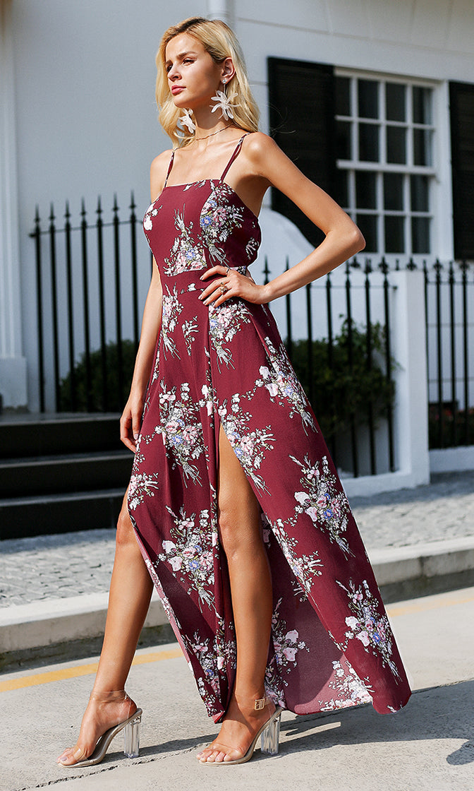 See You In The Hamptons Floral Pattern Sleeveless Spaghetti Strap Split Wide Leg Jumpsuit - 2 Colors Available